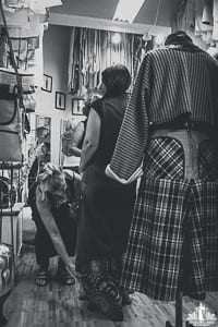 Black and white candid photography of Annie Thompson designs pop up shop by Vancouver contemporary portrait photographer Angela McConnell