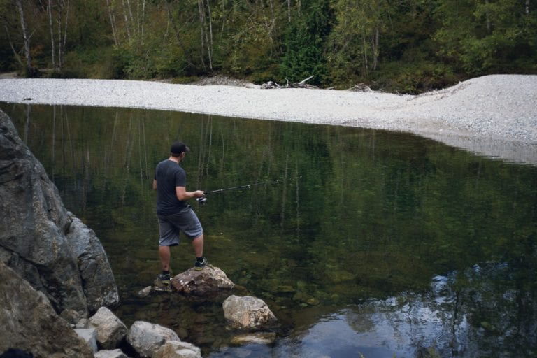 Image of a man fishing in a river at Golden Ears Provincial Park