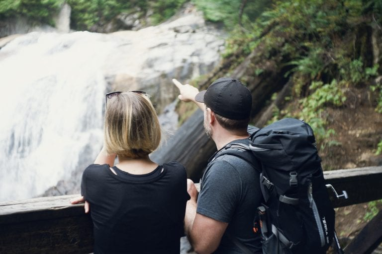 Image of a couple overlooking a waterfall at Golden Ears Provincial Park
