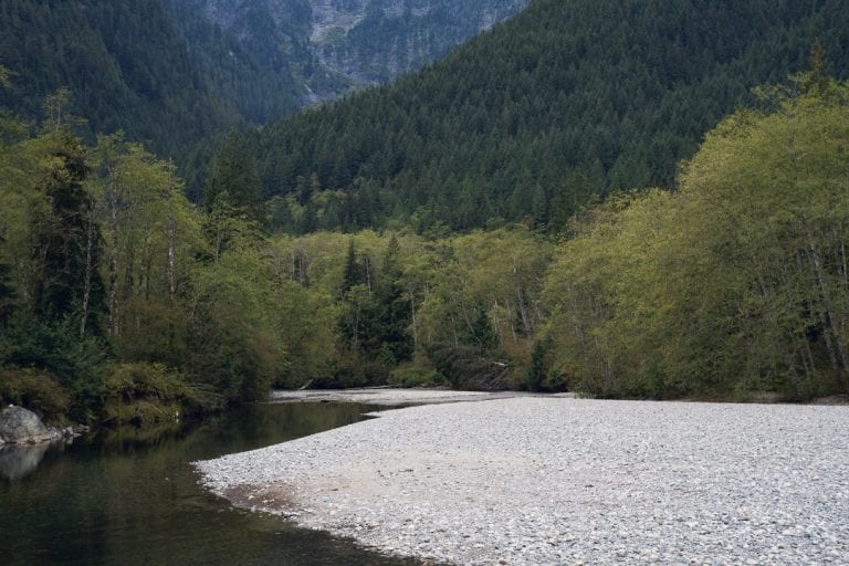 Landscape image of a river running through a mountain range at Golden Ears Provincial Park