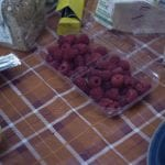 Raspberries on a camp table