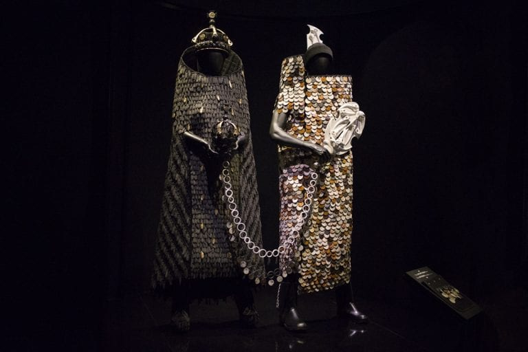 World of Wearable art awards dresses depicting the Treaty of Waitangi exhibit at EMP in Seattle