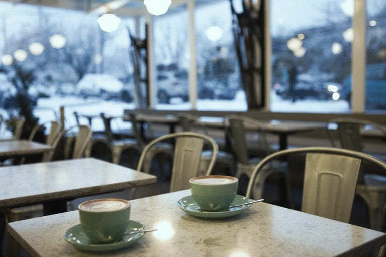 Kitsilano winter wonderland with coffee at 49th Parallel in Kitsilano on a snowy day in Vancouver BC
