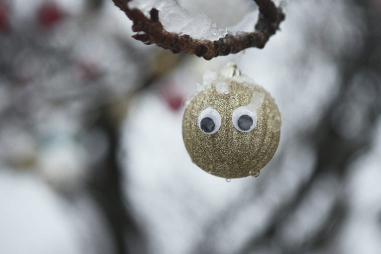 Kitsilano winter wonderland with a gold glitter Christmas bauble with googly eyes hangs from a tree covered in snow in Kitsilano on a snowy day in Vancouver BC