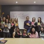 Image of a group of women holding up cards with empowering words during a self care workshop by Vancouver workshop and retreat photographer Angela McConnell