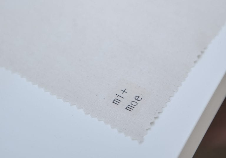 Mi + Moe brand imagery adhered to a linen square by Vancouver business portrait and branding photographer Angela McConnell