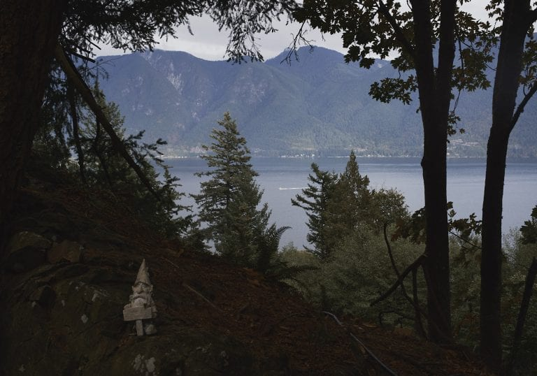 View of the sea to sky highway from Moulton Meadow Farm during a Thanksgiving getaway on Bowen Island