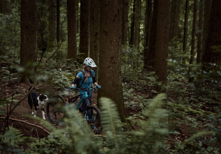 Coaching client mountain biking with Australian shepherd at Mt Fromme by Vancouver business portrait and branding photographer Angela McConnell
