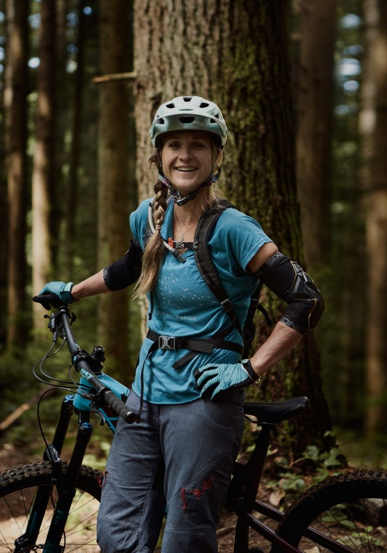 Coaching client mountain biking Mt Fromme by Vancouver business portrait and branding photographer Angela McConnell