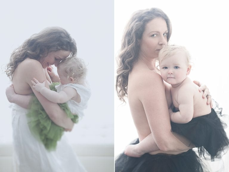 A woman cuddles with her baby daughter during a mother and child portrait session by Vancouver contemporary portrait photographer Angela McConnell