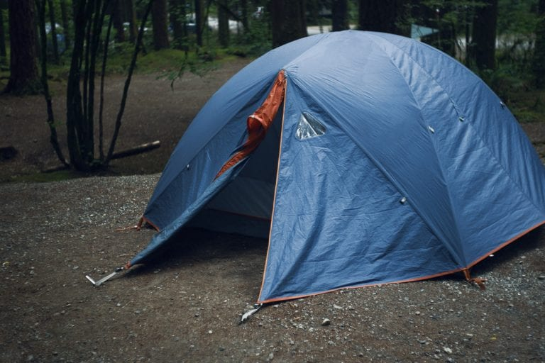 Image of a blue tent in a campground at Golden Ears Provincial Park