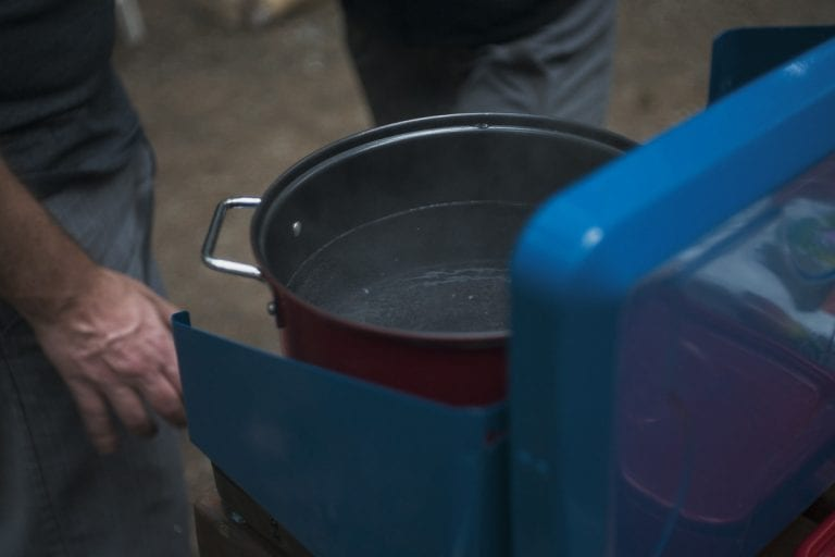 Water boiling on a camp stove while camping at Golden Ears Provincial Park