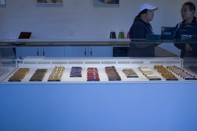 Gourmet eclairs for sale at a patisserie in Pike Place Market in Seattle
