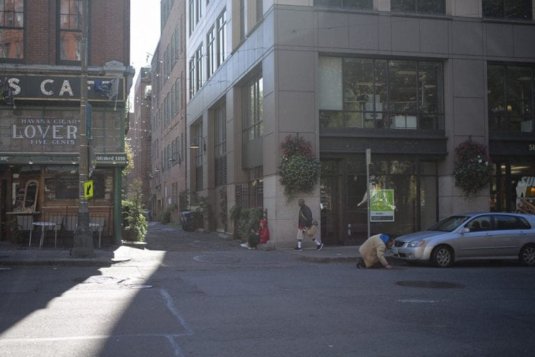 Entrance to laneway in the Pioneer Square area of Seattle