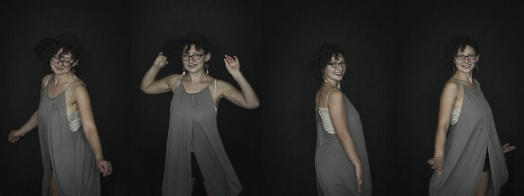Montage of a series of portraits using natural light where a young woman is dancing by Vancouver contemporary portrait photographer Angela McConnell
