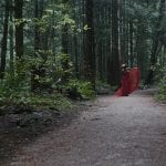 Natural light portrait of a young woman in a red dress and flower crown adjusting her dress on a path in a forest in Pacific Spirit National Park in Vancouver BC