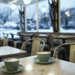 Coffee at 49th Parallel in Kitsilano on a snowy day in Vancouver BC