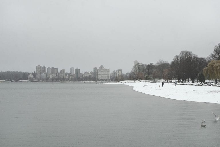 Kitsilano winter wonderland with view from Kitsilano Beach looking across to English Bay on a snowy day in Vancouver BC