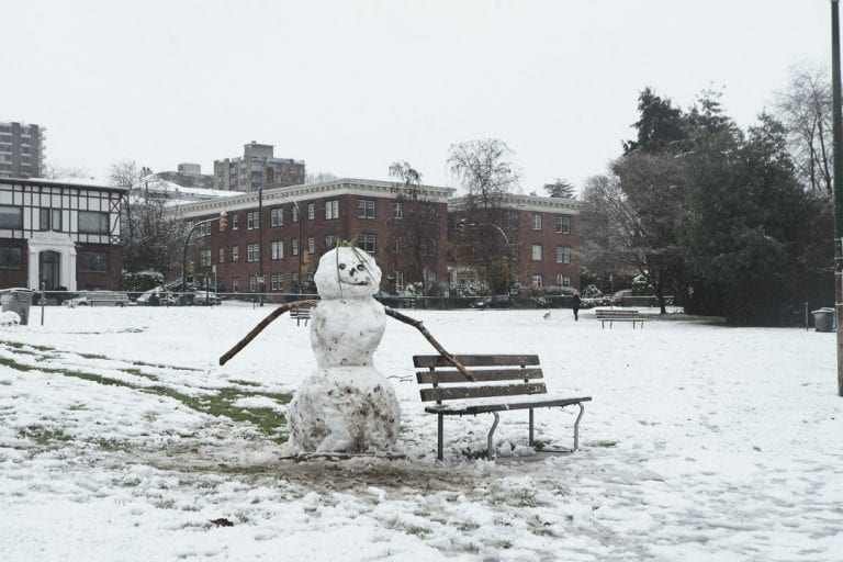 Snowman in a Kitsilano winter wonderland on a snowy day in Vancouver BC