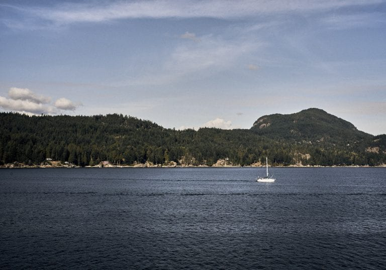 Image of a forested peninsula with a sailboat in an inlet in the foreground