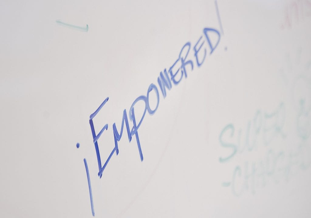 Image of the word Empowered written on a whiteboard during a self care workshop by Vancouver workshop and retreat photographer Angela McConnell