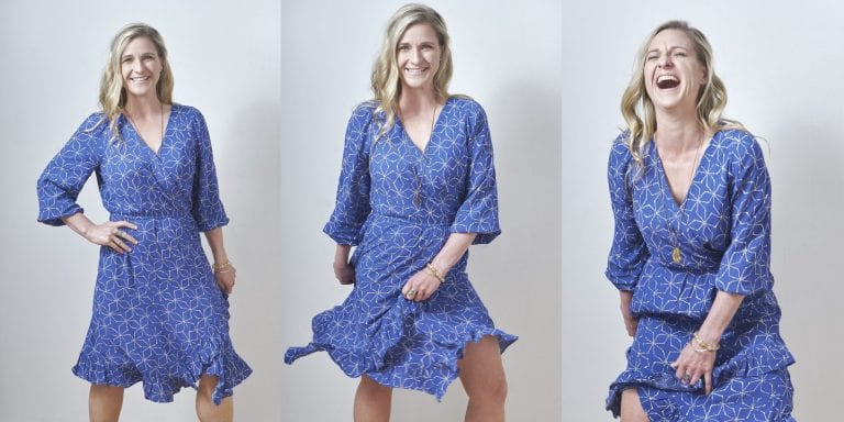 Triptych of a woman in a blue dress and long blonde hair posing and laughing at the camera by Vancouver business portrait and branding photographer Angela McConnell