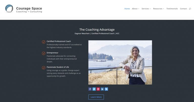 Screenshot of a client website featuring images created by Vancouver business portrait and branding photographer Angela McConnell