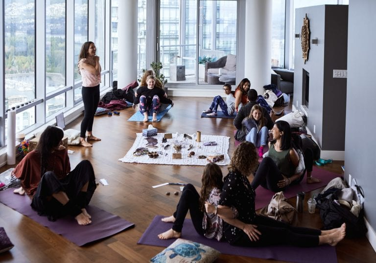Mothers and daughters during an exercise at a mother and daughter workshop by Vancouver workshop and retreat photographer Angela McConnell