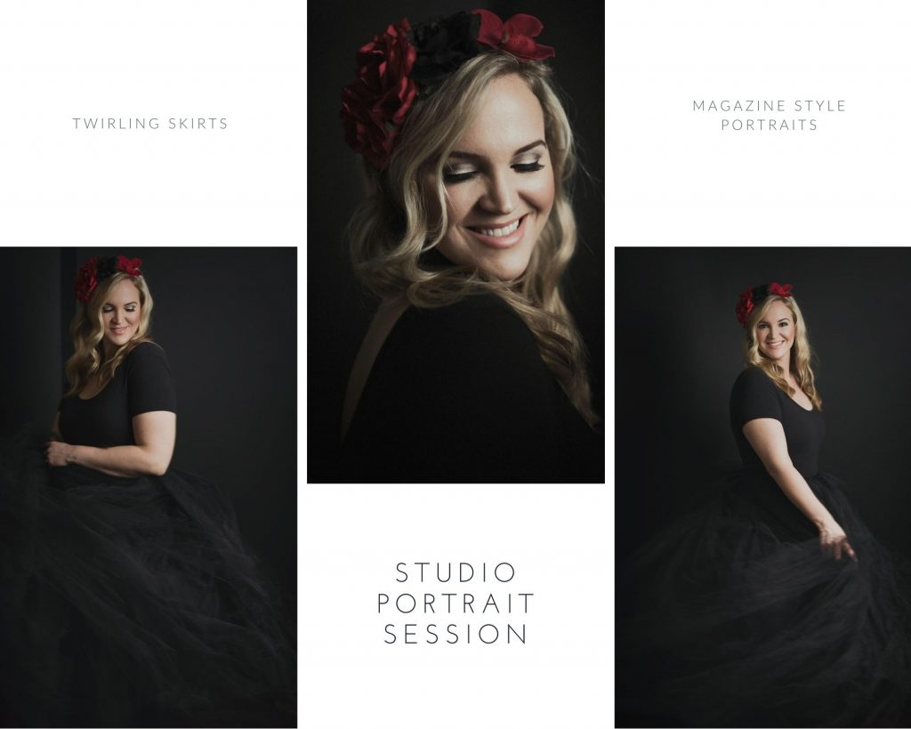 Magazine style studio portraits showing women's portrait photography examples in Vancouver by Photography by Angela McConnell