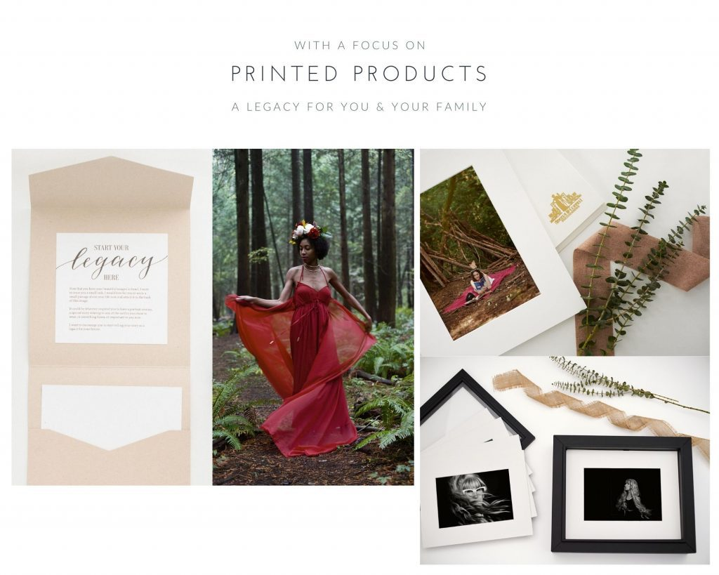 Examples of print products supplied to clients after a women's portrait photography session by Vancouver Photographer Angela McConnell