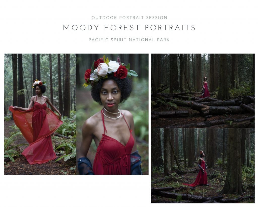Outdoor portraits at Pacific Spirit National Park showing women's portrait photography examples in Vancouver by Photography by Angela McConnell